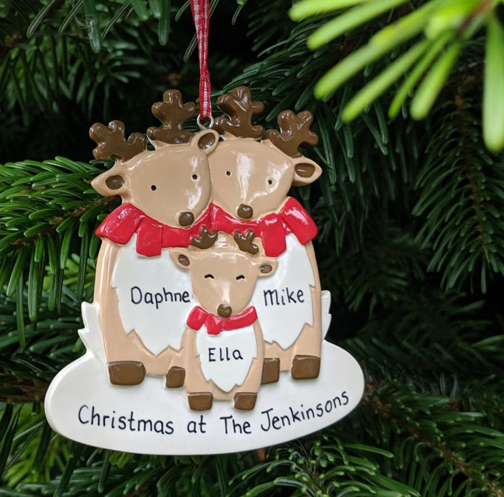 Personalised Reindeer Family of 3 Christmas Tree Decoration